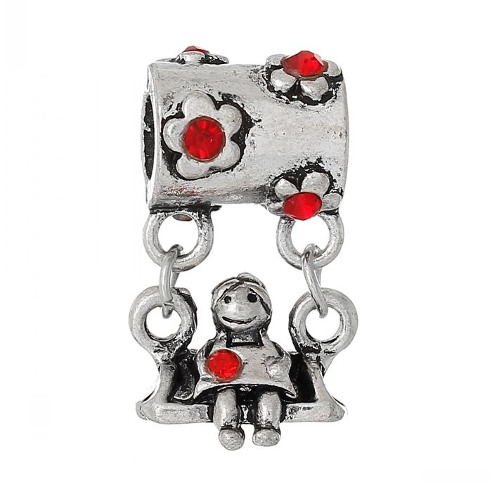 Jewelry & Accessories Necklaces & Pendants Doreenbeads Retail European Style Charm Slide Pendants Little Girl On Swing Antique Silver Flower Red Rhinestone 25mmx14mm,10pc