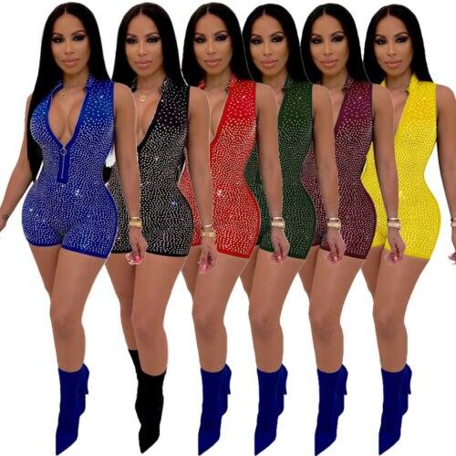 Fashion  Women Ladies Sexy Skinny Slim Deep V Neck Sequined Zipper Paillette Jumpsuits Summer Sleeveless Bodycon Short Romper