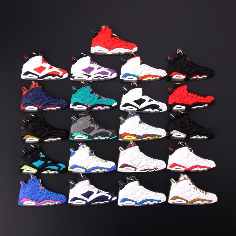 New Mini Jordan 6 Keychain Shoe Men Wome Kids Key Ring Gift Basketball Sneaker Key Chain Key Holder Porte Clef