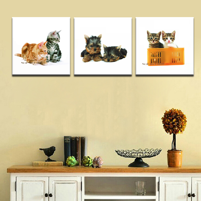 3 Panel Dogs and Cats Modern Home Decor Wall Art Canvas Animal ...