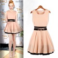 Fashion Color Block Decoration Slim Waist Short Design Sleeveless Lady's Dresses Women Short Dress 10