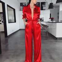 Articat Satin Wide Leg Women Jumpsuit Long Sleeve High Waist Buttons Bodycon Rompers Womens Jumpsuit Casual Loose Overalls