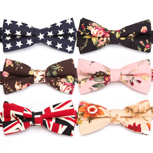 все цены на Men Bowtie Cotton Flower Fashion Bowties Groom Ties for Mens Cravat Male Butterfly Necktie Dress Shirt Gift Wedding Bow Tie