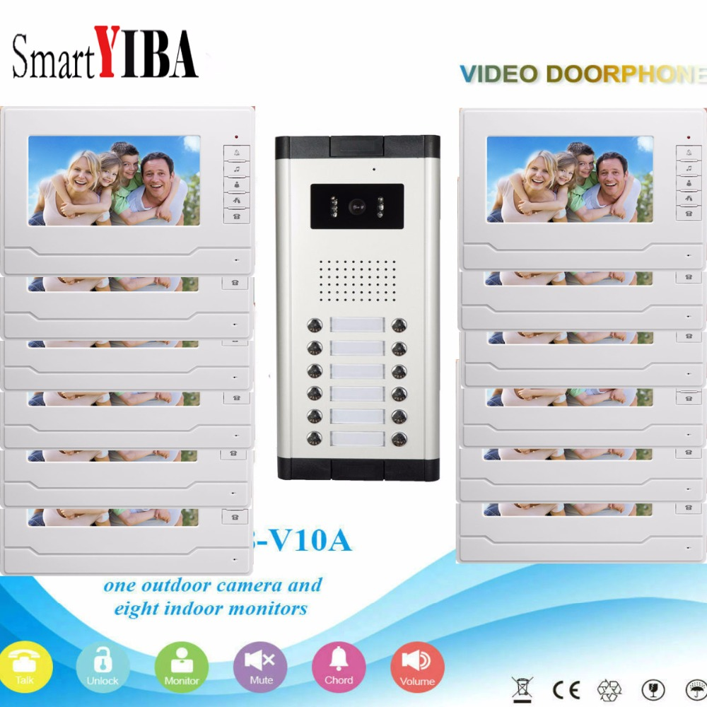 SmartYIBA Video Intercom 7''Inch Wired Color Video Door Phone Video Doorbell Phone Intercom System Kit 12 monitors+1 IR camera цены онлайн
