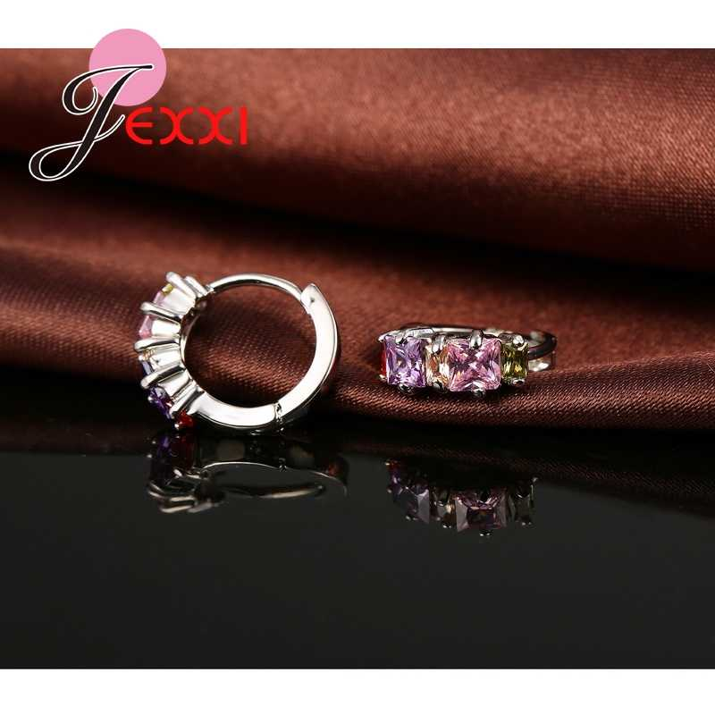 Promotion Elegant S90 Circle Hoop Earring Colourful Cubic Zirconia Crystal Piercing Earrings Brincos Ear Jewelry