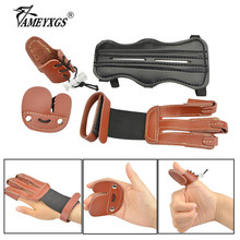 1set Archery Thumb Ring Guard 3-finger Gloves Protective Gear Set With Arm Guard Finger Tabs For Shooting Hunting Accessories 1 2pcs high quality cowhide finger guard right hand protective gear finger protector for shooting hunting archery accessories