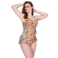 2018 Sexy One Piece Swimsuit Women Plus Size Swimwear Print Bodysuit Bandage Cut Out Beach Wear Bathing Suit Monokini Swimsuit