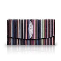 Fashion Striped Designer Genuine Stingray Skin Ladies Purse Exotic Leather Women's Zipper Coin Pocket Female Long Clutch Wallet
