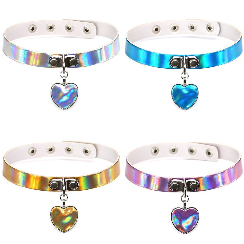 Humble Collar Necklace Jewelry Torques Laser Necklace Heart Gothic Punk Holographic Choker Hologram Pu Leather Choker Jewelry Gift With A Long Standing Reputation