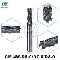2PCS Lot GM 4W D6 0 D7 0 D8 0 High Speed Milling Cutters 4 Flute