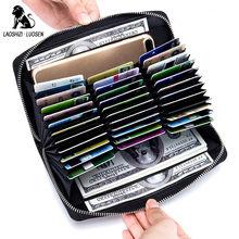 Купить с кэшбэком 36 Slot Card Holder Genuine Leather Rfid Credit Card Case Organizer Passport Wallet Travel Men Women Wallets Purse porte carte