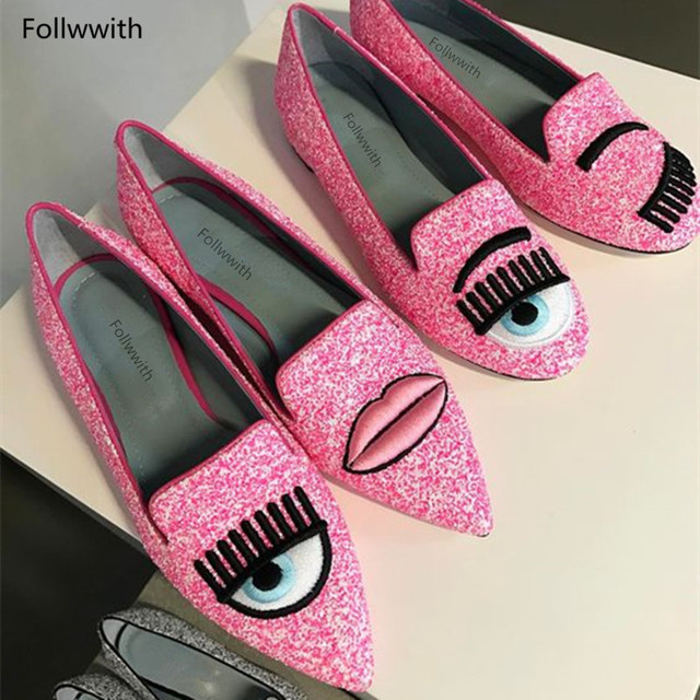 9d1abb976376b Pink Silver Glitter Big Eyes Pointy Toe Flats Spring Summer Follwwith Brand  Women Shoes Flats & Loafers Ladies Slip on Shoes-in Women's Flats from ...