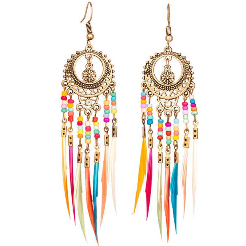 Semicircular Bohemian Tassel Pendant Drop Earrings Resin Bead Exaggeration Vintage Women Dangle Earrings Trendy Jewelry 2018 New