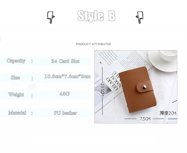 HTB1NIMRcUGF3KVjSZFmq6zqPXXax - New PU Leather Function 24 Bits Card Case Business Card Holder Men Women Credit Passport Card Bag ID Passport Card Wallet H088