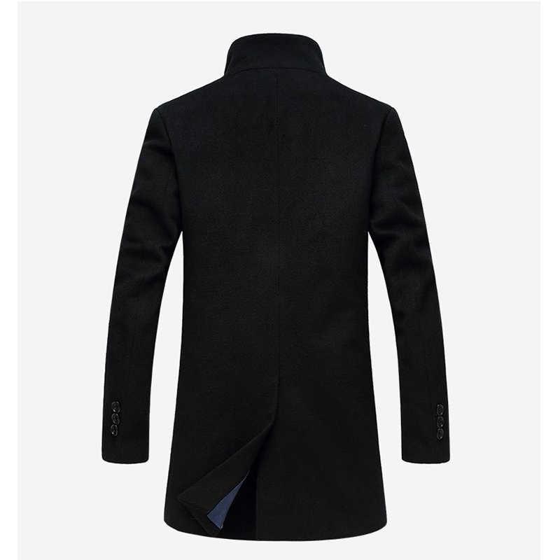 Мужская шерстяная куртка Дизайн Тренч ветровка формальный бизнес серый однобортный на пуговицах мужской Тренч карманы пальто мужское шерстяное пальто