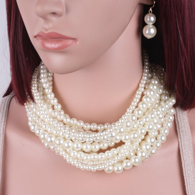 Necklace& Earrings White Short  Multilayer Pearl Pendant Women Choker Charm Girl Chain Party Jewelry Choker Necklaces for Women