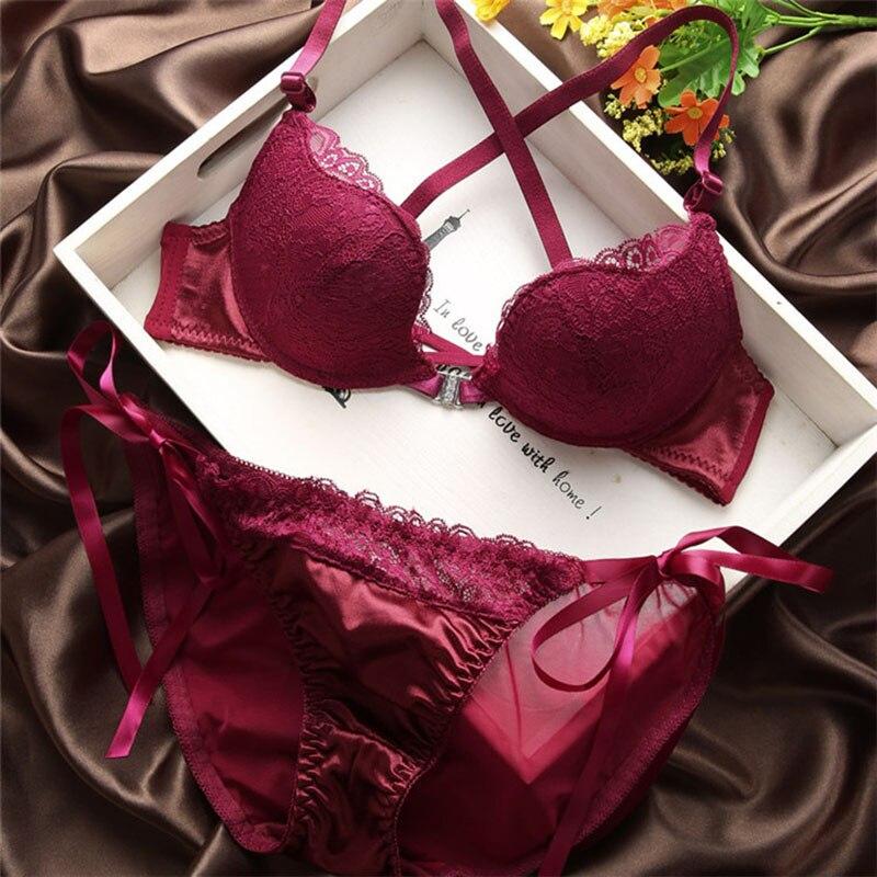 Satijnen bralette set voorkant stropdas sexy slipje dames string korte diepe V push-up gewatteerde kanten bh's dame ondergoed BH lingerie set rood