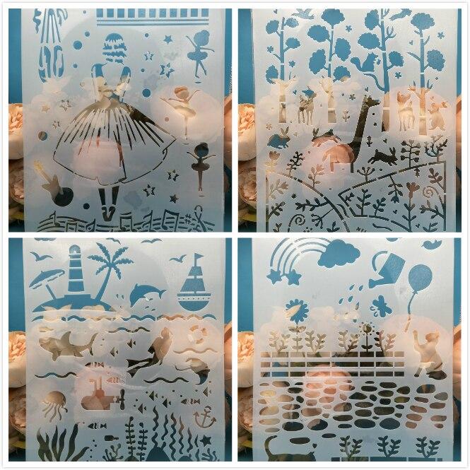 4Pcs/Set A4 Girl Forrest Ocean DIY Layering Stencils Painting Scrapbook Coloring Embossing Album Decorative Card Template