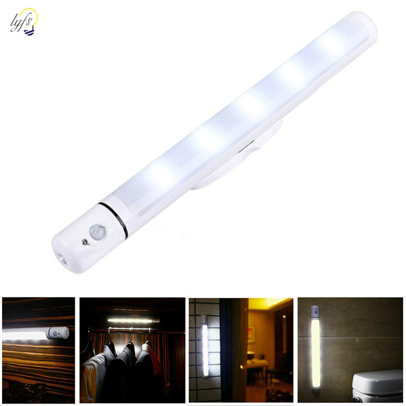 Motion Sensor Inductive Night Light Battery Power Can Be Rotated Led Night Lamp For Wardrobe Bedroom Cabinets Light