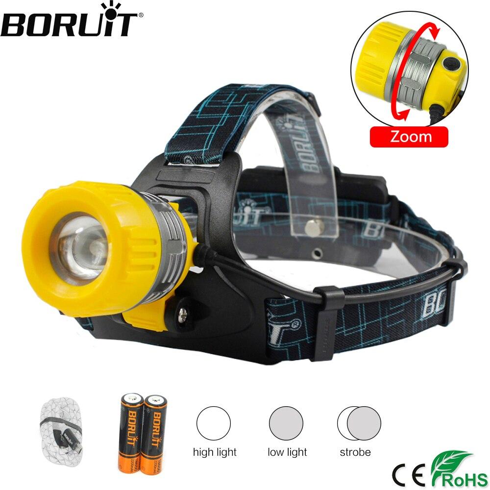 BORUiT B11 1800LM XMLT6 Proiettori A LED 3-Mode USB Caricatore Faro Del Faro Zoomable Testa Della Torcia di Campeggio Della Torcia Elettrica di Pesca 18650 Batteria