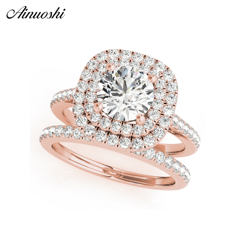 AINUOSHI 925 Sterling Silver Women Wedding Engagement Ring Sets Double Halo 1ct Round Cut Wedding Ring Anniversary Party JewelryAINUOSHI 925 Sterling Silver Women Wedding Engagement Ring Sets Double Halo 1ct Round Cut Wedding Ring Anniversary Party Jewelry