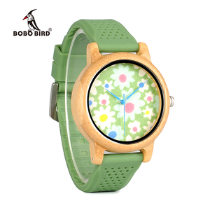 Image 3 - BOBO BIRD WB04 Fashion Causal Bamboo Watch with Fabric Dial Ladies Wood Watches With Soft Silicone Straps Quartz Watch With Box