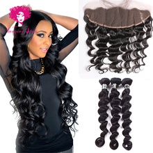 Brazilian Virgin Hair Loose Wave With Closure 3 Bundle Deals Mink Brazilian Hair Loose Wave With Lace frontal Closure Stema Hair
