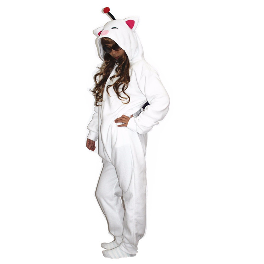 მოზარდები Kigurumi Cosplay Costume Final Fantasy MOG Moogle Onesie Pajamas for Halloween Carnival Masquerade Christmas Party