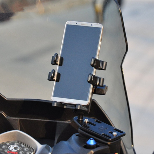 1 inch ball motorcycle pump mount base+Double Socket Arm +Cell Phone Mount Holder Stand for 4-5.5 inch Smart Phones and GPS ram