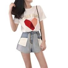 купить!  Женские летние шорты с коротким рукавом из двух частей Harajuku Fashion Letter Pattern Печать с коро