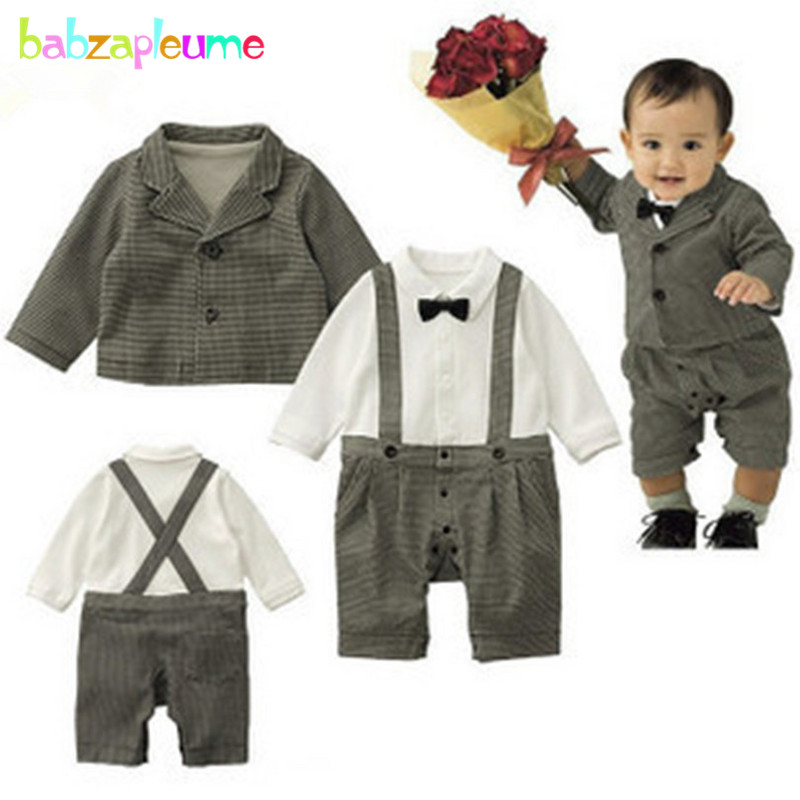 babzapleume 2PCS/3-24M/Spring Autumn newborn baby boys clothes jackets+rompers 1st birthday jumpsuit infant clothing sets BC1382