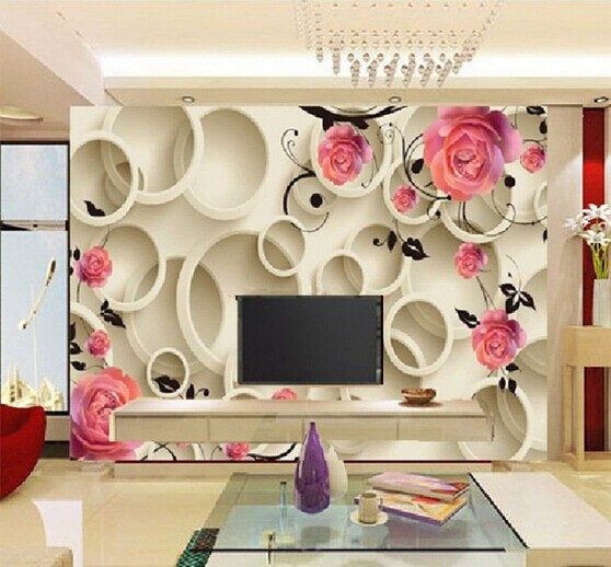3d Minimalist Rose Wallpaper Hd Stereoscopic Wall Paper Bedroom Sofa