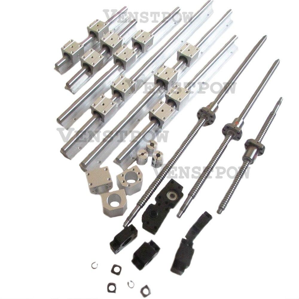 6 piezas SBR16 riel lineal de guía + 3 piezas SFU1204 SFU1605 husillos a bolas RM1605 bolas tornillo RM1204 + 3 conjuntos de BK12BF12 /BK10BF10 + 3 piezas de acoplamiento