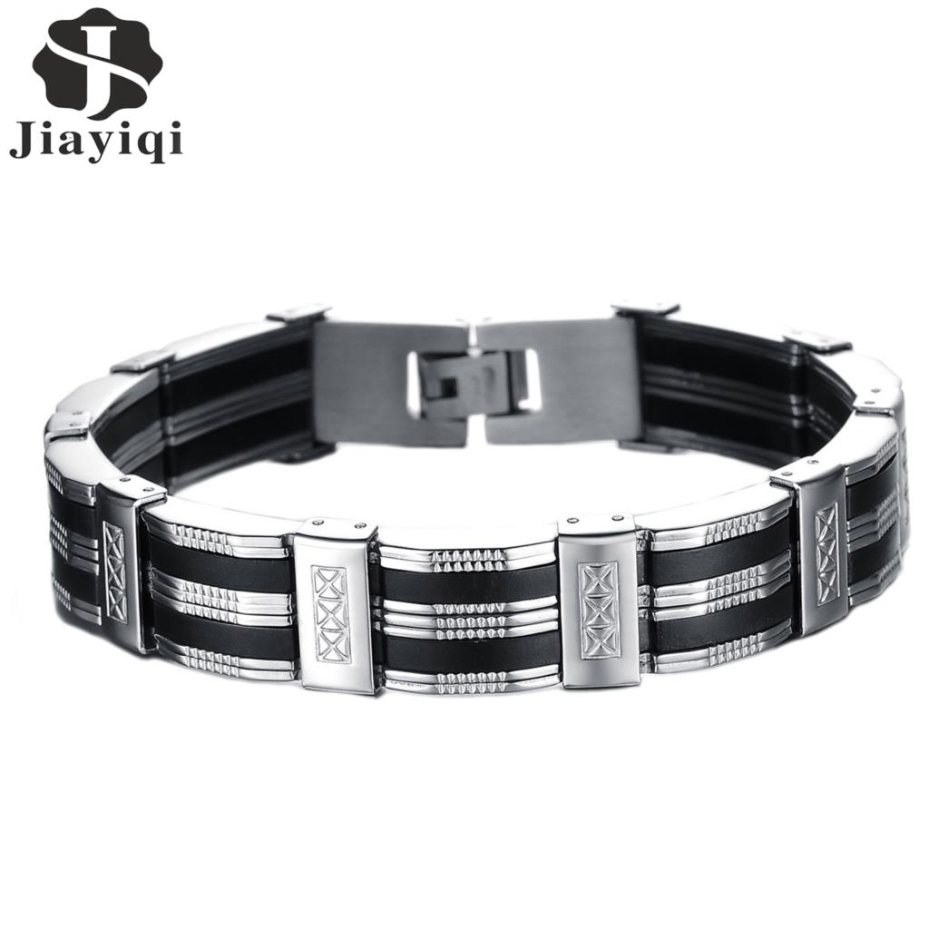 Jiayiqi New Punk Stainless Steel Bracelets & Bangles Silicone Bracelet Men Jewelry Silver Color Friendship Male Accessories 2017 jiayiqi new mens bracelets stainless steel black silicone bracelets charm bracelet male bangle for men jewelry 2017 silver color