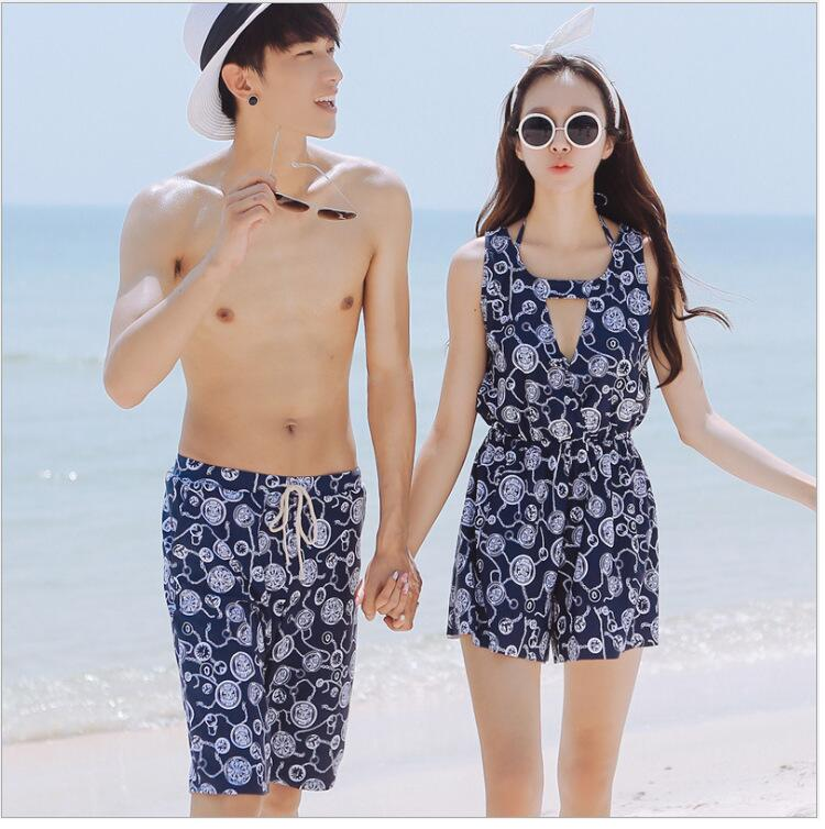 2016 Summer Fahion Couple Swimsuits Women Three Pieces Bikini Set And Men Board Short Bandage Biquini Beach Wear Lover DB196