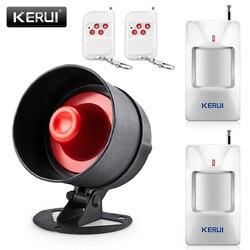 KEIRUI tanie 100dB bezprzewodowy lokalny głośnik Alarm domowy System antywłamaniowy wykrywacz ruchu na podczerwień pilot zestaw syren w Zestawy systemów alarmowych od Bezpieczeństwo i ochrona na