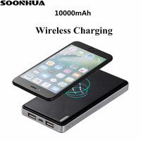SOONHUA 10000mA Przenośne Szybka Ładowarka Qi Bezprzewodowy Adapter Szybkie Ładowanie Stojak Podwójny Port USB Power Bank dla iPhone Samsung