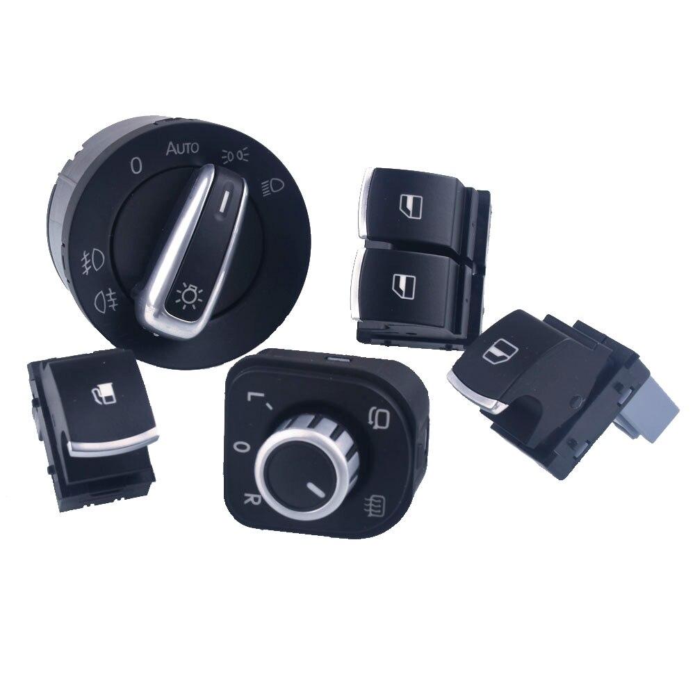 Para vw eos golf mk5 mk6 gti scirocco, polo, rabbit 2, faróis da porta, interruptor de espelho retrovisor