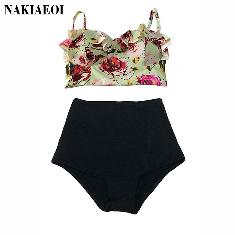 High Waist Swimsuit Bikini Women 2017 Push Up Swimwear Female Sexy Bikini Set Beach Wear Vintage Bathing Suit Retro Floral Print summer sexy swimsuit vintage high waist bikini retro push up swimwear women plus size bathing suit printed floral bikinis set
