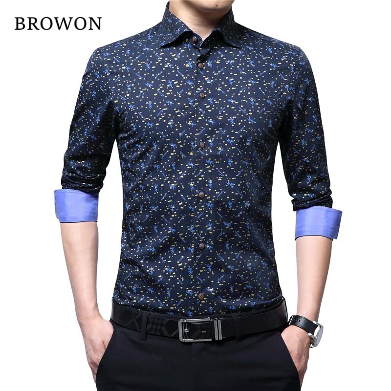 BROWON Spring Autumn 2019 Brand Luxury Men Shirt 100% Cotton Print Design Long Sleeve Slim Shirt For Man Floral 2018 Camiseta