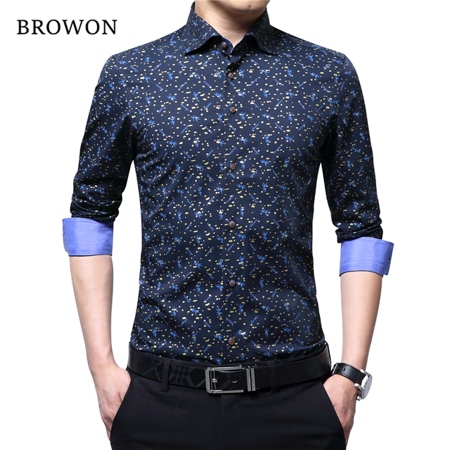 BROWON Spring Autumn 2020 Brand Luxury Men Shirt 100% Cotton Print Design Long Sleeve Slim Shirt for Man Floral 2018 Camiseta