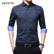 Browon primavera outono 2020 marca de luxo camisa masculina 100% algodão impressão design manga longa camisa fina para o homem floral 2018 camisa