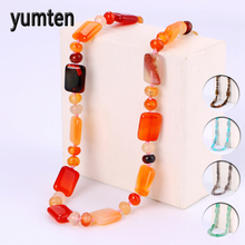 Yumten Agate Necklace Gemstone Beads Natural Stone Colares Women Jewelry Crystal Accessories Statement Females Chain Gioielli yumten agate necklace gemstone beads natural stone colares women jewelry crystal accessories statement females chain gioielli