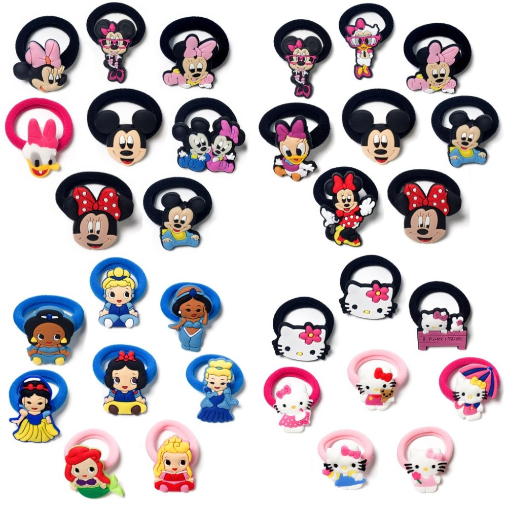 8pcs/lot Mickey Minnie Hair Barrettes Hot Cartoon Rubber Hair Bands Headband Christmas Hair Accessories For Girls Hair Clips