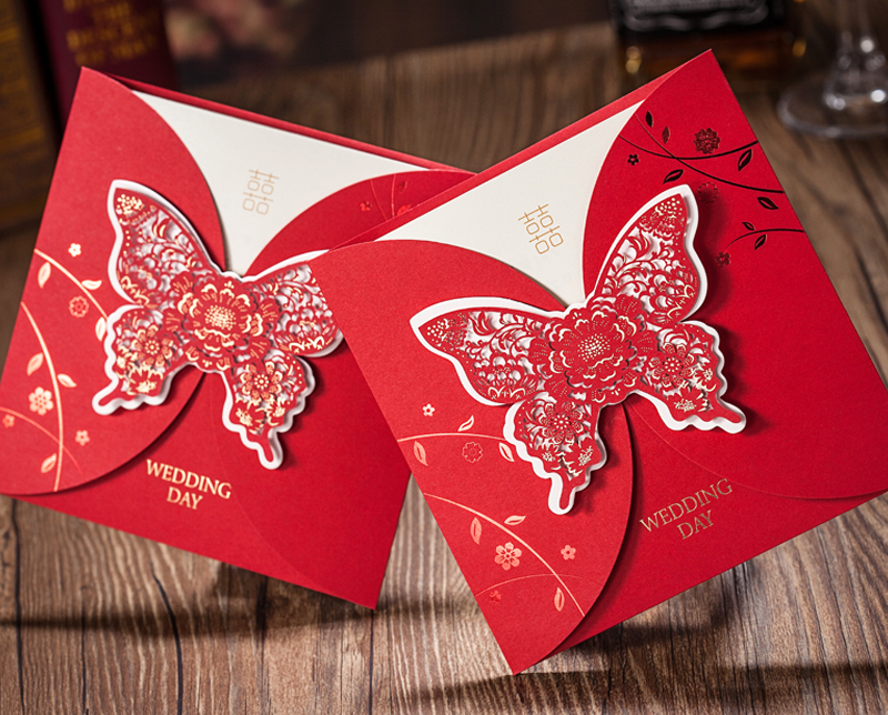 Hotsale butterfly wedding invitation cards , creative red ...
