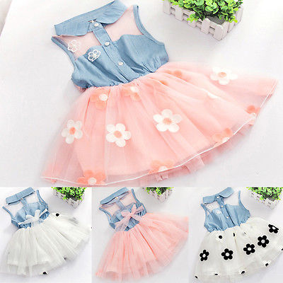 цена на 2017 Toddler Kids Baby Girls Dresses Flower Princess Sleeveless Tutu Cute Floral Dress Sundress Girl