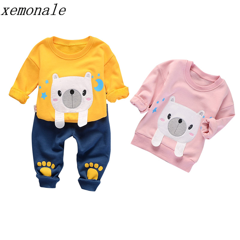 Fashion Brand Children Boys Girls Cartoon Clothing Sets Autumn Kids Full Sleeve Tshirt And Patch Pants 2 Pcs Baby Tracksuits