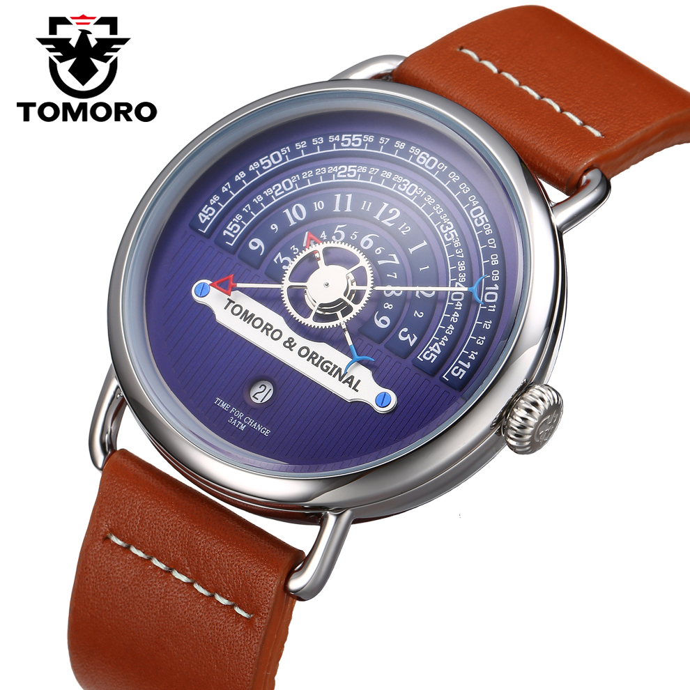 TOMORO Original Top Creative Brand Genuine Leather Strap Men Style Fashion Casual Male Quartz Clock Watches Unique Modern gift цена 2017