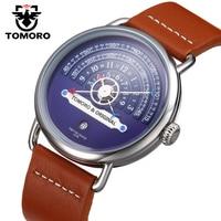 TOMORO Original Top Creative Brand Genuine Leather Strap Men Style Fashion Casual Male Quartz Clock Watches Unique Modern gift