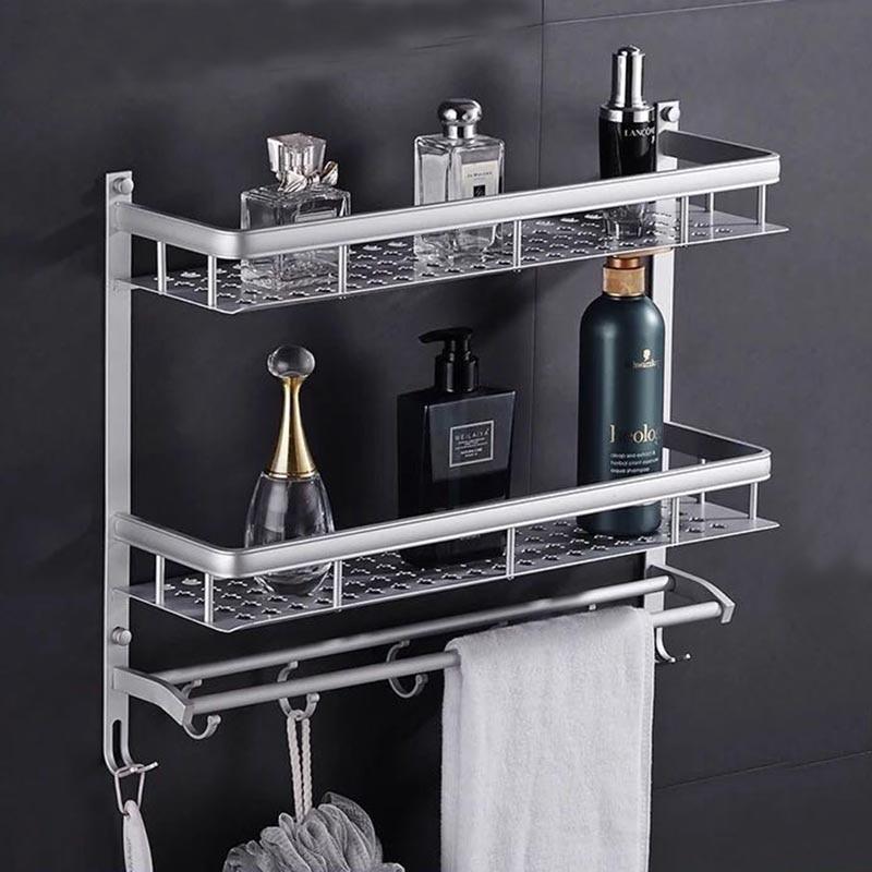 Bathroom Shelves 2 Layer Space Aluminum Storage Rack Towel Hooks Washing Shower Basket Shelf Towel Bars Bath Furniture Holder F